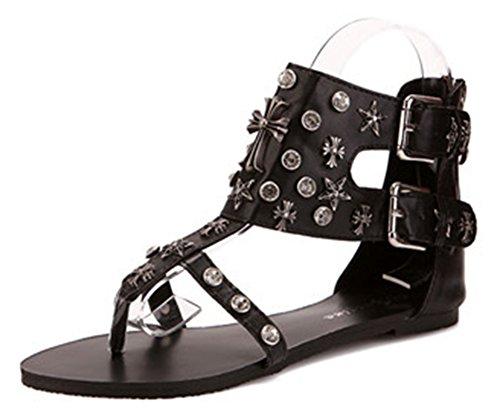 Clip Lanière Noir Toe Sandales Aisun Boucle Femme Spécial qxwCZWCRIH