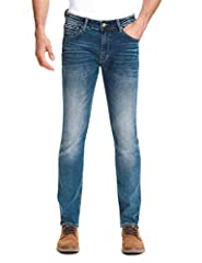Designed in the USA. Slim fit through skinny legs. Deep blue denim jeans with very natural wash; light color stitching perfectly pop up from the deep blue denim. Humble wash can be wear with any clothes and in any occasion-casual or formal.  ...