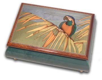 Tropical Parrot on a Palm Leaf Wood Inlay Musical Jewelry Box - Take Me Out to the Ball Game by MusicBoxAttic