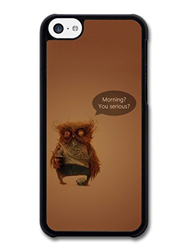 Morning You Serious Owl with Coffee Funny Illustration coque pour iPhone 5C