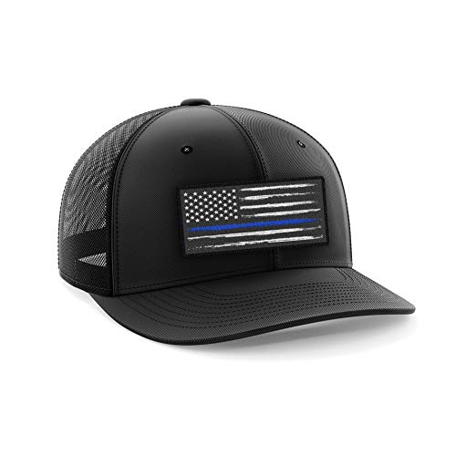 Blue Line Police Flag Flexfit Cap (L/XL)