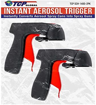 Instant Aerosol Trigger Handle (Pack of 2), Instantly Converts Spray Cans into Spray Guns - Full Hand Grip, Reusable, Easy to Clip-On & Off - Universal Fit, Use on Spray Paint, Adhesives, Lubricants