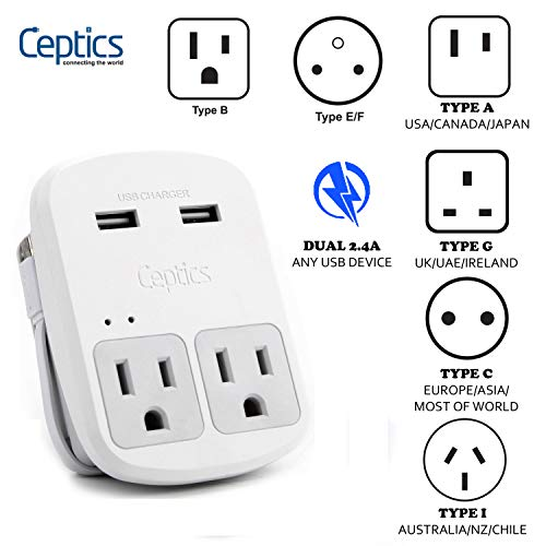 Safest Travel Adapter Kit, Dual USB for iPhone, Chargers, Cell Phones, Laptop Perfect for Travelers by Ceptics ()