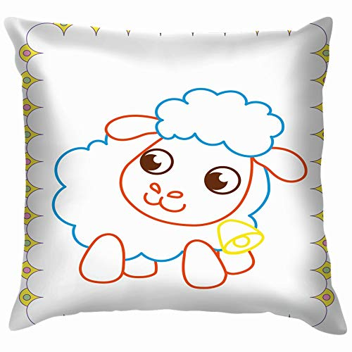 Coloring Book Cute White Animal Sheep Animals Wildlife Education Throw Pillow Case Cushion Cover Pillowcase Watercolor for Couch 18X18 Inch -
