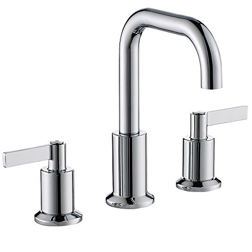 (TimeArrow TAF288S-CP Two Handle 8 inch Widespread Bathroom Sink Faucet with Pop-Up Drain, Chrome )