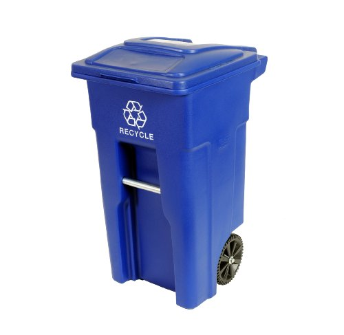 Toter 025532-R1BLU Residential Heavy Duty 2-Wheeled Recycling Can with Attached Lid, 32-Gallon, Blue by Toter