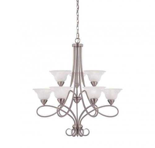 Nine Light Pewter White Faux Alabaster Glass Up Chandelier-Savoy House 1-121-9-69
