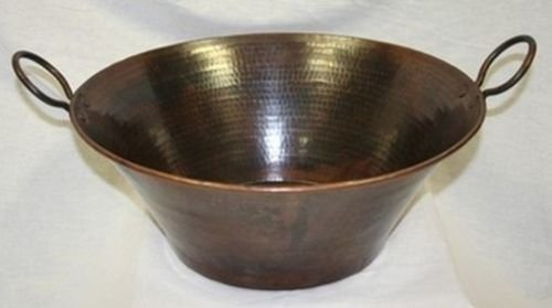 Whiskey Barrel Sink-Darker Finish-Copper Vessel Pan Sink-Pump Look Faucet
