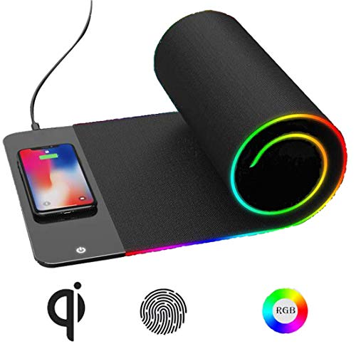 Wireless Charger with Mouse Pad and Keyboard pad Qi 3 in 1 with RGB led 7 Colors Fast Charging Pad for 10W/7.5W/5W iPhone 8/8/X Plus iPhone Xr/Xs/Xs Max,Samsung Galaxy S9/S9 Plus/Note 8/ S8/S8 Plus