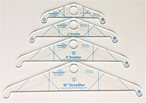 OctaStar FM free motion rotating quilting templates make 8 pt stars - laser cut acrylic 1/8'' thick, 4 pc set by TopAnchor Quilting Tools