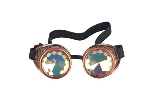 Kaleidoscope Rave Goggles Steampunk Glasses with Rainbow Crystal Glass - Glasses Lens Crystal