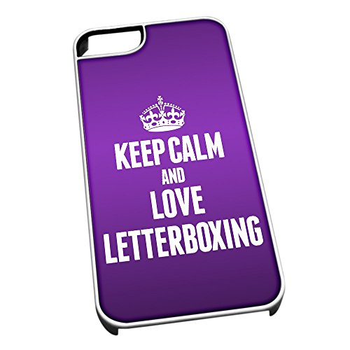 Bianco cover per iPhone 5/5S 1821 viola Keep Calm and Love Letterboxing