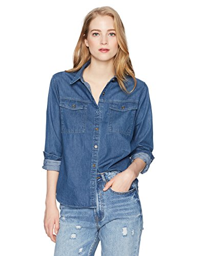 Lily Parker Womens Casual Long Sleeve Denim Shirt Small Dark Blue