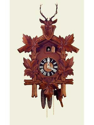 Hand Carved Quartz Cuckoo Clock with Deer Head 22 Inch