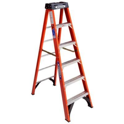 Werner 6 ft. Fiberglass Step Ladder with 300 lb. Load Capacity Type IA Duty Rating