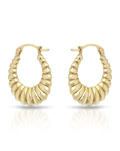 MCS Jewelry 10 Karat Yellow Gold Classic Shrimp Hoop Earrings (Diameter: 23 mm) (Shrimp 14k)