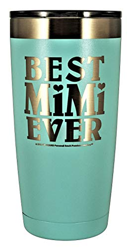 MIMI GIFT – Engraved BEST MIMI EVER Stainless Steel Tumbler 20 oz Premium Quality Vacuum Insulated Large Travel Coffee Mug Hot & Cold Drinks Grandma Mother's Day Christmas Birthday (Pastel Teal)