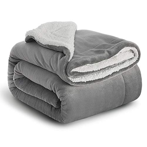 Great Features Of BEDSURE Sherpa Fleece Blanket Throw Size Grey Plush Throw Blanket Fuzzy Soft Blank...