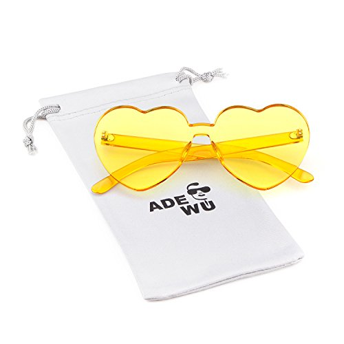 Love Heart Shape Sunglasses Women Rimless Frame Colorful SunGlasses by ADEWU (Image #1)