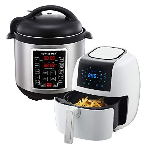 GoWISE USA 3.7-Quart 8-in-1 Digital Touchscreen Air Fryer (White, GW22924) + Recipe Book AND GoWISE USA 8-Quart 10-in-1 Electric Pressure Cooker (Stainless Steel, GW22623) + Recipe Book