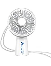 VersionTECH. Mini Hand Held Fan, Portable Desk Table Necklace Fan with USB Rechargeable Battery LED Operated Cooling Electric Hand Fan for Office Room Outdoor Household Traveling-White