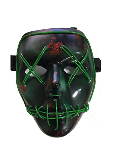 The Purge Smile Mask (NIGHT-GRING Frightening Wire Halloween Cosplay LED Light up Mask for Festival Parties,)