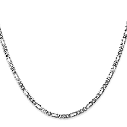 14k White Gold 3.0mm Polished Flat Figaro Chain Bracelet Anklet 9'' by Venture Jewelers