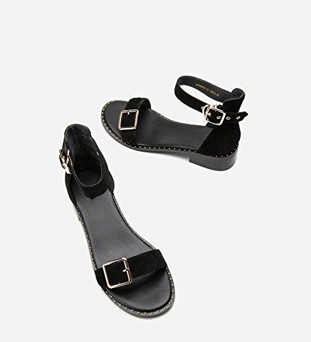 Zapatillas Mujer Tacones Moda Ocasionales 39 Punta Dhg Altos De Bajo Tacón Dulces Planas Color Verano negro Sólido Sandalias qCxBIw4