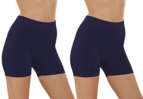 Ladies Navy Blue Short - 2 Pack Women's Seamless Stretch Yoga Exercise Shorts (Navy)
