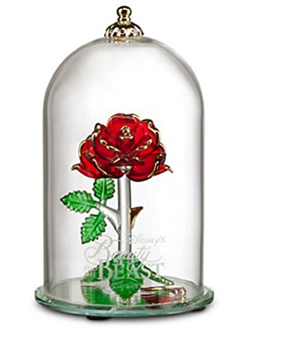 Disney -Beauty and the Beast Enchanted Rose Glass Sculpture by Arribas - Large ()