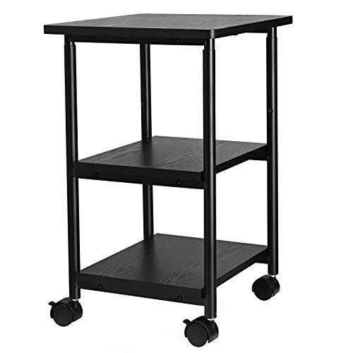 SONGMICS Adjustable Printer Stand Desk Mobile Machine Cart with 2 Shelves Heavy Duty Storage Trolley for Office Home Black ()