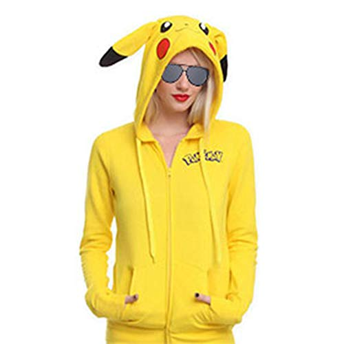 (Women's Pokemon Pikachu Costume Hoodie Cute Cartoon Zipper Up Hooded Jacket)