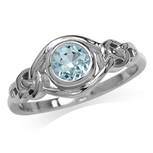 (1ct. Genuine Blue Topaz White Gold Plated 925 Sterling Silver Celtic Knot Ring Size 5)