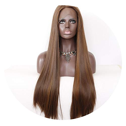 Brown Highlight Color Heat Resistant Hair Handmade Glueless Perruque Synthetic Lace Front Wigs For Wedding Makeup,Brown,22inches]()