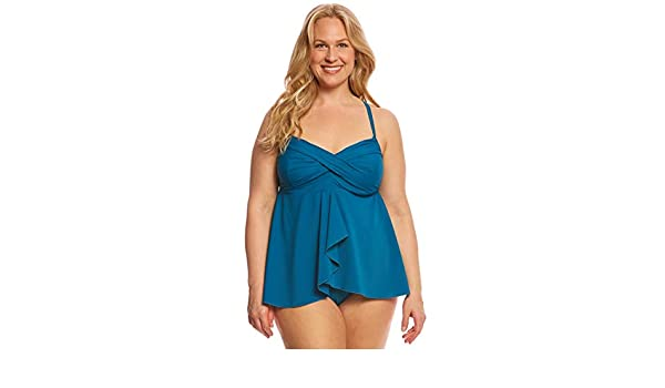816ccf228 ClubSwim Couture Plus Size Twist Underwire Flyaway Tankini Top Deep Teal  24W at Amazon Women s Clothing store
