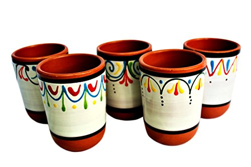 Terracotta White Cups, Set of 5 - Hand Painted From Spain by Cactus Canyon Ceramics