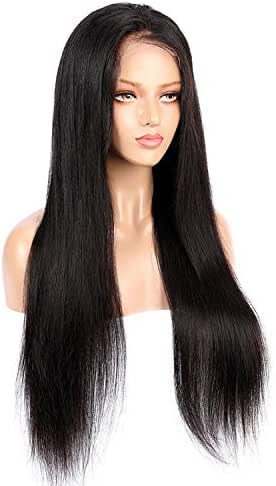 Transparent Lace Color Straight Full Lace Wigs Human Hair Pre Plucked Hairline Brazilian Remy Lace Wig With Baby Hair For Women,26inches