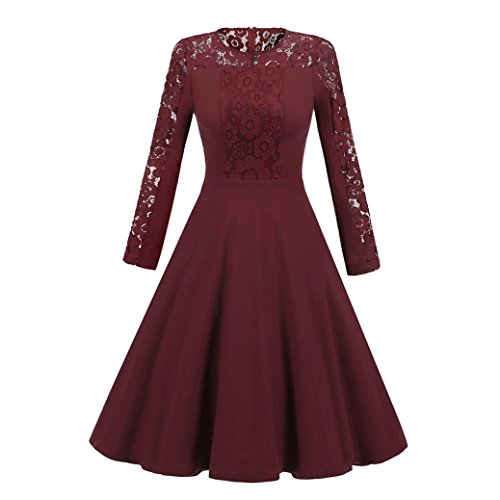 Women's Sexy Vintage Lace Long Sleeve Formal Patchwork Wedding Cocktail Party Retro Swing Dress Slim Ladies Dress (Wine red, XL) by Aurorax