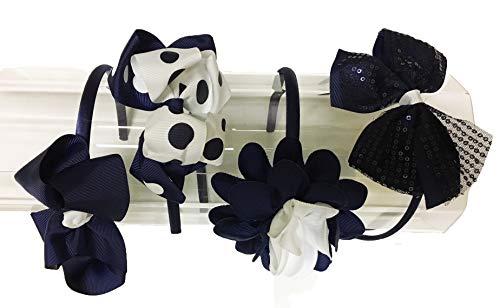 French Toast School Uniform Headbands, 4-pack, Navy Blue & White, One Size