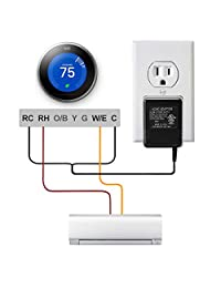 AC24 V C Wire adaptador de corriente, lammu 24 V transformador de potencia para requiere C Wire Honeywell Smart Wifi termostato (16.4ft)