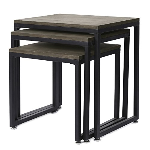Set of 3 Rustic Barnwood Gray Nesting End Tables with Black Metal (Nesting Stacking Table)