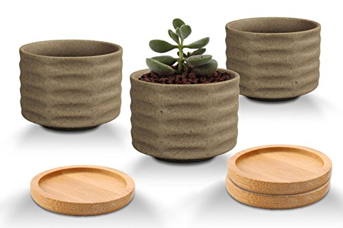 VanEnjoy Samll Natural Earth Tone Brown Unglazed Round Ceramic Succulent Planter,Matte Finish,Minimalist Pottery Flower Cactus Bonsai Pot Bowl,Candle Holder With Bamboo Tray Saucer- Set in 3 (Set B) (Bowl Candle Set)