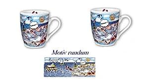 2pieza de porcelana–Taza de café Pott, Taza de Robben, playa de Maritim de Deutsches del diseño