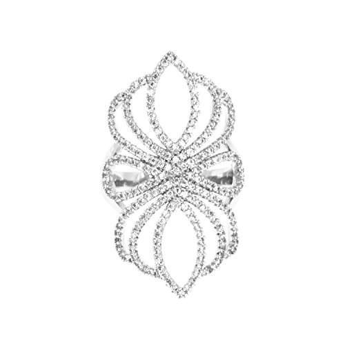 Floral Filigree AAA CZ Micro Pave Ring Size 6-9 Cubic Zirconia Cocktail Jewelry For Women (Silver, (Pave Filigree Ring)