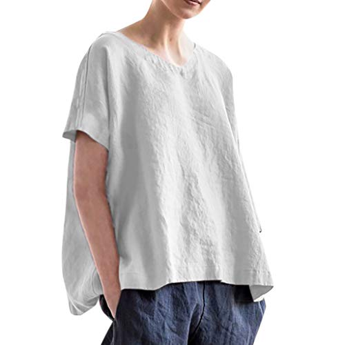 (Gopeak Plain T Shirts for Women Summer Fashion Casual Plus Size Loose V Neck Short Sleeve Linen Tops Pullover Blouse)