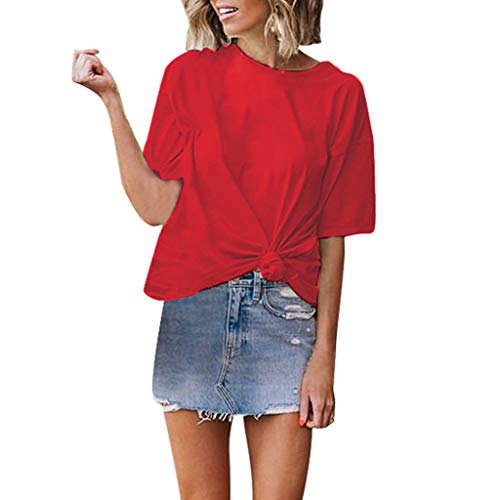 - Mebamook Women's Scoop Neck A-Line Tunic Blouse Striped Off Shoulder Bell Sleeve Shirt Tie Knot Casual Blouses Red