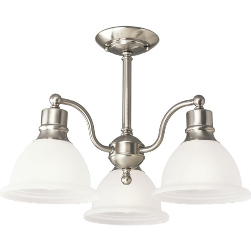 Progress Lighting P3663-09 3-Light Semi-Flush Close-To-Ceiling Fixture with White Etched Glass, Brushed Nickel -