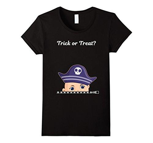 [Women's Halloween Peeking Baby Boy Maternity pirate costume Large Black] (Cute Pirate Costumes Ideas For Women)