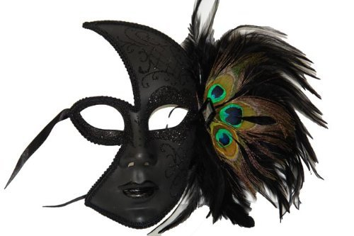 Venetian Mask Black Sparkles w/ Peacock Feathers Women (Mask Mardi Gras Peacock)