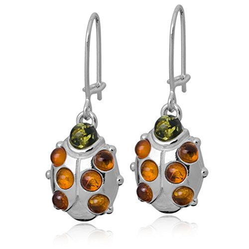 (Sterling Silver Multicolor Amber Ladybug Earrings)